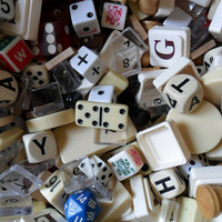 vintage mix of game parts and pieces - assorted supplies - art supplies - game pieces - assorted games - board game pieces - craft supplies