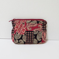 Vintage TanyaLee Design Quilted Fabric Cosmetic Bag