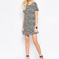 Daisy Street Shift Dress With Frill hem In Mono Animal Print at asos.com