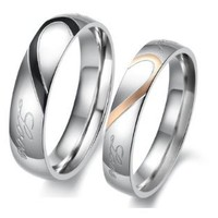"""Lover's Heart Shape Stainless Steel Couple Wedding Band Engraved Heart and """"Real Love"""" Engagement Anniversary Wedding Promise Ring, Ladies 11"""