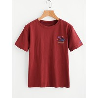Graphic Embroidered Tee Rust
