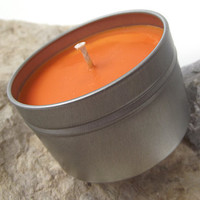 ORANGE for MEN Soy Wax Candle - Hand Poured Soy Wax Candle Tin -- 6 ounce Tin
