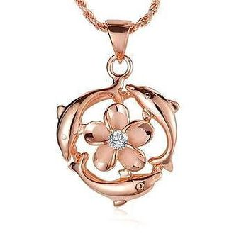 ROSE GOLD PLATED SILVER 925 HAWAIIAN 9MM PLUMERIA FLOWER 3 SHINY DOLPHIN PENDANT