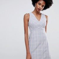 Oasis tailored shift dress with v-neck in check at asos.com