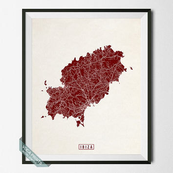 Ibiza Print, Spain Poster, Ibiza Poster, Ibiza Map, Spain Print, Spain Map, Street Map, Balearic islands, Wall Art