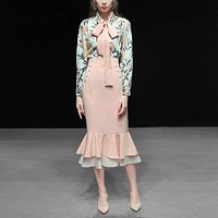 New Spring Long Sleeve Floral Print Blouse + Ruffles Pencil Skirt Suit Two Piece
