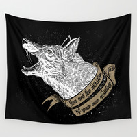 Wolf Protector (Black n Bronze collection) Wall Tapestry by Pakowacz