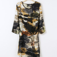 Scenery Print Half Sleeve Chiffon Shift Mini Dress