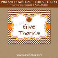 Give Thanks Sign - Thanksgiving Decor - Printable Thanksgiving Sign - Thankful Print - Thankful Sign - Autumn Wall Art - 8x10 Sign T4