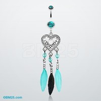 Heart Dreamcatcher Feathered Belly Button Ring