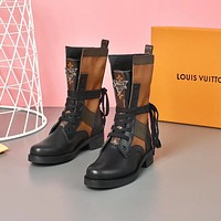 lv louis vuitton trending womens black leather side zip lace up ankle boots shoes high boots 253