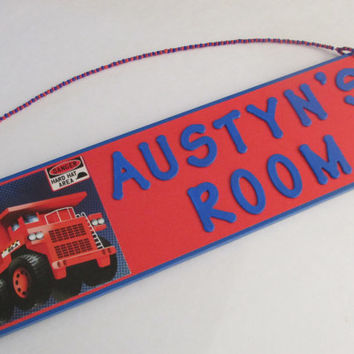 Dumo Truck Personalized Room Decor Sign - Truck Name Sign - Cars Boys Room Decor - Red Dump Truck