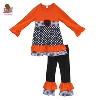 Boutique Fall Outfit 100% Cotton Pom Pom Orange and Black Polk Dots Double Ruffle Outfit