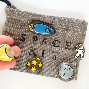 Etsy Front Page - Space kit stone play set handpainted with handmade and handprinted linen bag