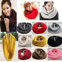 Unisex Women Winter Warm Infinity 2 Circle Cable Knit Cowl Neck Long Scarf Shawl = 1957887684