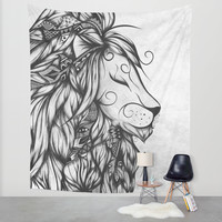 Poetic Lion B&W Wall Tapestry by LouJah