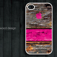 iphone case iphone 4s case iphone 4 cover white iphone case colorized pink wood texture Iphone Logo design printing