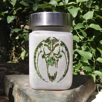 Demon Skull  Etched Glass Stash Jar- Free UPGRADE to Priority Mail within the US