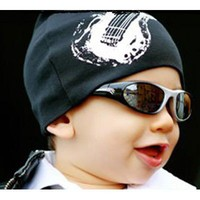 White Guitar on Black Knit Hat by Pink Axle - Baby 0-18 months Baby Wit