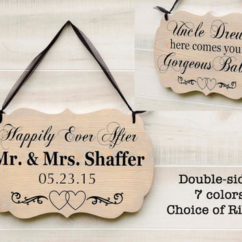 Personalized Double Two Sided wedding wood sign 7 colors. Mr. and Mrs., Ring Bearer Sign, Here Come the Bride, Country Rustic Wedding Decor