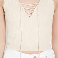 Lace-Up Sweater Top | Forever 21 - 2000185781