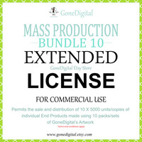 Mass Production Extended License Bundle Commercial Use No Credit Permit the Sale of 10x5000 Units of an End Product Digital Papers Clipart