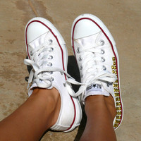 Low-Top White Studded Converse