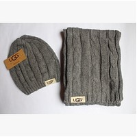 Tiktoki1 UGG  scarves hat two - piece fashion winter warm ugg scarf suit brand foreign trade scarf suit  Grey