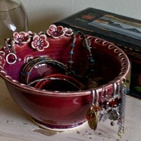 Earring holder Earring bowl Jewelry Bowl Rasberry by redhotpottery