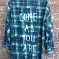 """Plaid flannel """"Come as you are"""" hand painted shirt // soft grunge"""