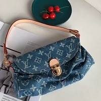 LV denim blue canvas women's underarm bag shoulder messenger bag