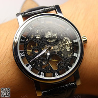 Mens Mechanical wristwatches Steampunk Watch Black & White Hollow Dial Steam punk Sport Watches