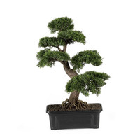 Artificial Cedar Bonsai Tree 24 in, Silk Cedar Bonsai Tree 24 in