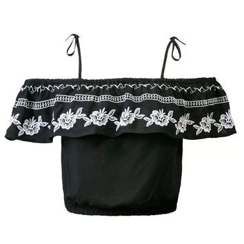 Black Off Shoulder Embroidery Ruffle Crop Top