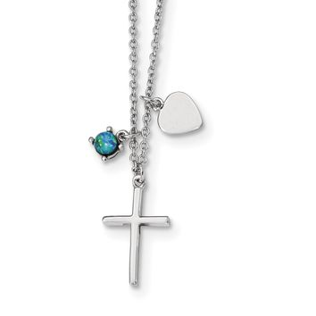 Sterling Silver Rhodium-plated Synthetic Blue Opal Cross Necklace QG4400
