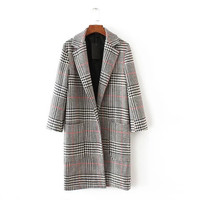 Glen plaid duster coat