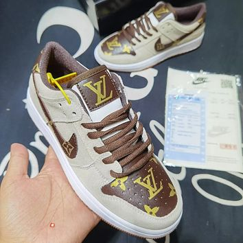 Nike air jordan Louis Vuitton LV SB dunk low pro series high-top sneakers (leather) non-slip fashion trend casual all-match sports shoes