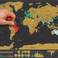 Deluxe Scratch Map, World Map World Edition Poster with tube packaging