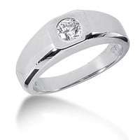 Round Brilliant Diamond Mens Ring in 14k white gold (0.25cttw, F-G Color, SI2 Clarity)