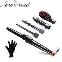 Hair Curling Iron Ceramic Multifunctional Straightener Brush Hair Curler Set Hair Curling Wand Roller Hair Crimper