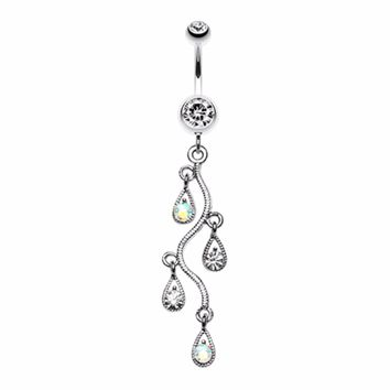 Sparkling Vine Swirl Gem Dangle Belly Button Ring