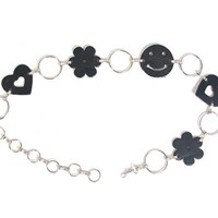 90s Chain Belt - Smiley Face Hearts Flower Power - Black Leather and Chain - 90s Belt - Grunge Goth Cyber Y2K - Chain Link Hoops Belt