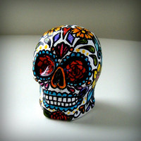 Ceramic Sugar Skull Sculpture Day of the Dead Tattoo folk art dia de los muertos Hand Painted red roses turquoise yellow cyber monday etsy