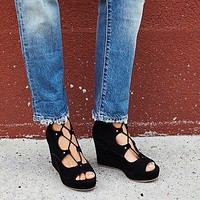 J/Slides Womens Three Wishes Lace Up Wedge