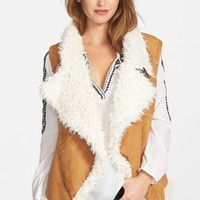 Women's Two by Vince Camuto Drape Front Faux Shearling Vest,