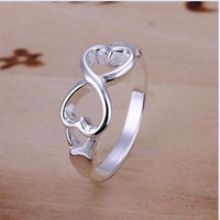 Sterling Silver Infinity Ring Love  Heart Ring