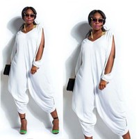 Women Hot Long Sleeve Chiffon Romper Baggy Harem Jumpsuit Plus Size