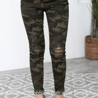 Distressed Camo Mid Rise Jeans