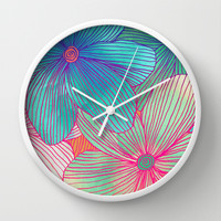 Between the Lines - tropical flowers in pink, orange, blue & mint Wall Clock by micklyn