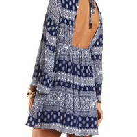 Paisley Print Bell Sleeve Dress by Charlotte Russe - Navy Combo